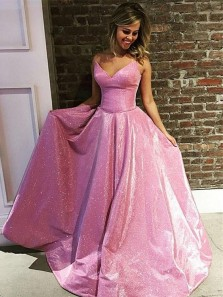 Sparkly A Line V Neck Strapless Fuchsia Satin Long Prom Dresses with Pockets, Flare Evening Dresses PD1128002