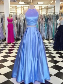 Vintage A Line Two Piece Halter Blue Long Prom Dresses with Pockets, Elegant Evening Dresses