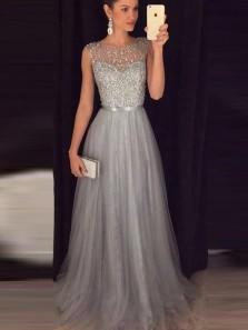 Sparkly A Line Scoop Open Back Grey Beaded Long Prom Dresses, Elegant Evening Dresses PD1128004