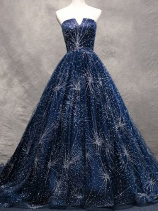 Gorgeous Ball Gown V Neck Backless Navy Sparkly Long Prom Dresses, Flare Long Evening Dresses
