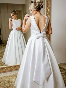 Vintage Ball Gown Scoop Open Back White Beading Long Wedding Dresses with Bow