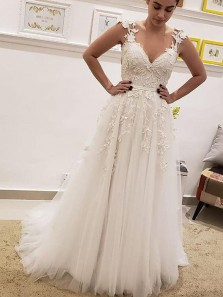 A Line V Neck Ivory Lace Fairy Long Wedding Dresses with Appliques