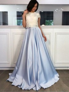 Ball Gown Two Piece Round Neck Light Blue Satin White Lace Long Prom Dresses with Pockets