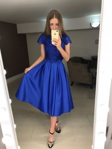 A Line Two Piece Cap Sleeves Round Neck Royal Blue Lace Tea Length Prom Dresses