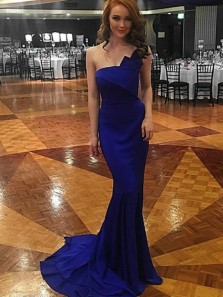 Unique Mermaid Strapless Royal Blue Elastic Satin Long Prom Dresses PD1129002