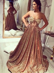 Sparkly A Line Sweetheart Open Back Gold Sequins Long Prom Dresses with Lace PD1129004