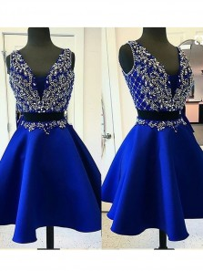 Cheap V Neck Royal Blue Two piece homecoming dresses 2017,A Line Sexy Prom Dress With Beading