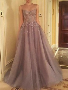 A Line Round Neck Grey Lace and Beading Long Prom Dresses, Fairy Long Evening Dresses PD1130001