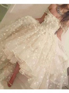 Fairy Ball Gown Off the Shoulder Ivory Lace High Low Prom Dresses, Cute Evening Dresses PD1130002