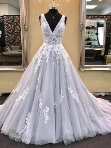Ball Gown V Neck Open Back Grey Lace Long Prom Dresses, Elegant Evening Dresses PD1130008
