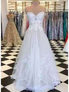 Ball Gown Sweetheart Irregular Hem White Lace Long Prom Dresses, Unique Evening Dresses PD1130010