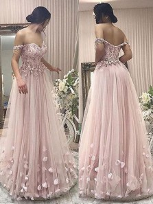 Fairy A Line Off the Shoulder Sweetheart Grey Pink Lace and Flower Long Prom Dresses, Fairy Quinceanera Dresses PD1130009