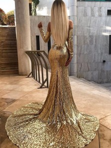 Sweetheart Mermaid Gold Sequins Long Sleeves Long Prom Dresses with Train, Gorgeous Flare Evening Dresses PD1130005