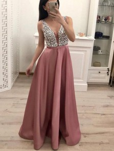 Charming A-Line V Neck Open Back Blush Satin Long Prom Dresses with Beading,Evening Party Dresses