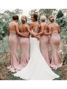 Sweetheart Mermaid Blush Long Bridesmaid Dresses Under 100