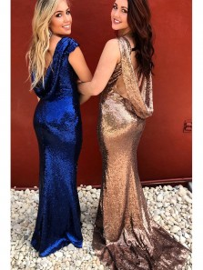 Sparkly Royal Blue/Rose Gold Sequins Mermaid Long Bridesmaid Dress PD0016