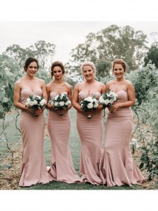 Sweetheart Mermaid Blush Long Bridesmaid Dresses Under 100