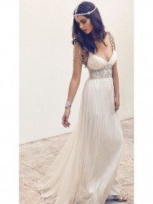 Elegant Fashion V Neck A Line Chiffon White Beach Wedding Dress with Beading WD00122