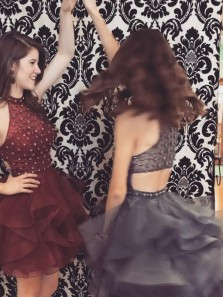 Cute A Line Modern Burgundy Tulle Halter Neckline A-line Homecoming Dresses With Beadings