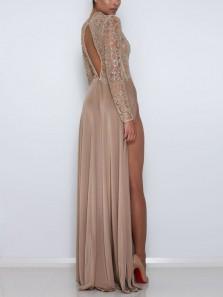 A Line High Neck Long Sleeves Splits Long Prom Dresses, Elegant Evening Party Dresses PD1201008