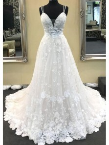 Ball Gown V Neck Spaghetti Straps White Lace Long Wedding Dresses WD1201001