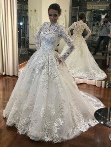 Luxurious Ball Gown High Neck Long Sleeves White Lace Long Wedding Dresses with Pockets WD1201002
