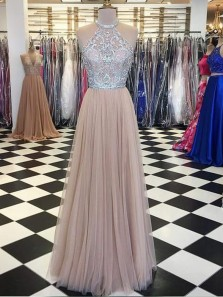 A Line Halter Open Back Champagne Tulle Beading Long Prom Dresses, Formal Beautiful Evening Dresses PD1203001