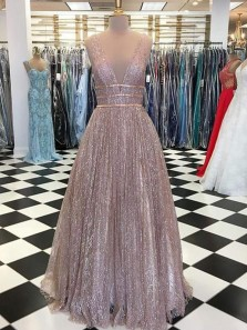 Flare A Line V Neck Open Back Dark Champagne Sequins Long Prom Dresses, Sparkly Quinceanera Dresses PD1203003