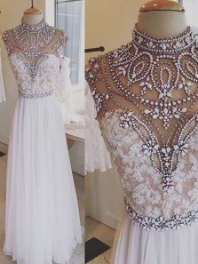 Vintage A Line High Neck White Chiffon Lace Long Prom Dresses with Beading, Luxurious Evening Party Dresses PD1203002