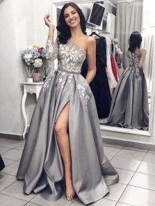 Ball Gown One Shoulder Long Sleeves Grey Satin Split White Lace Long Prom Dresses with Pockets, Unique Prom Dresses PD1203004