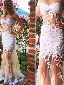 Mermaid Round Neck Open Back White Lace Long Prom Dresses, Unique Prom Dresses PD1203006