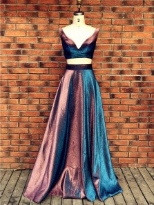 A Line Two Piece V Neck Open Back Sparkly Satin Long Prom Dresses with Pockets, Evening Dresses PD1203009