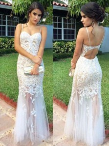 Mermaid Sweetheart Spaghetti Straps White Lace Long Prom Dresses, Beautiful Evening Dresses PD1204001