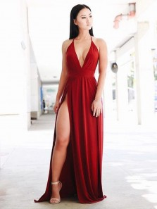 Sexy A Line V Neck Spaghetti Straps Burgundy Elastic Satin Split Long Prom Dresses, Wine Simple Evening Dresses PD1204002