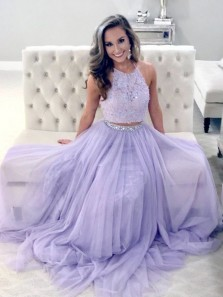 A Line Two Piece Halter Lavender Lace Long Prom Dresses with Beading, Elegant Evening Dresses PD1204003