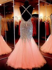 Mermaid Sweetheart Cross Back Pink Tulle Beading Long Prom Dresses, Sparkly Party Evening Dresses, PD1204004