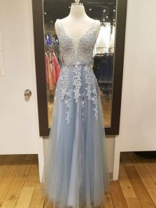 A Line V Neck Open Back Grey Lace Long Prom Dresses with Appliques, Beaded Simple Evening Dresses PD1204005