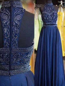 Gorgeous A Line Two Piece High Neck Navy Chiffon Long Prom Dresses with Beading, Elegant Formal Dresses PD1204006