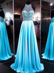 A Line High Neck Beaded Light Blue Chiffon Long Prom Dresses, Sparkly Formal Dresses PD1204007
