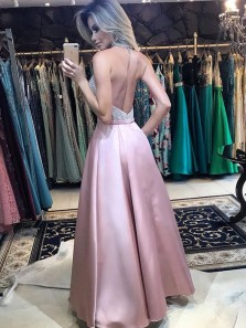 A Line Halter Backless Pink Satin Beaded Long Prom Dresses with Pockets, Formal Dresses PD1204009
