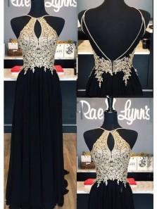 A Line Halter Open Back Black Chiffon && Champagne Appliques Long Prom Dresses