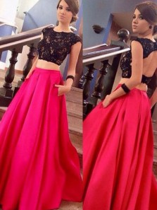 A Line Two Piece Scoop Open Back Dark Red and Black Lace Long Prom Dresses with Pockets, Lace Formal Prom Dresses