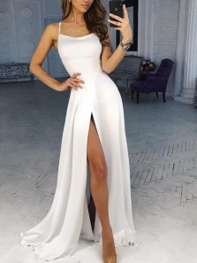 Simple A Line Spaghetti Straps Cross Back White Satin Long Prom Dresses with Pockets, Formal Party Dresses Under 100