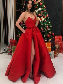 Ball Gown V Neck Split Red Satin Long Prom Dresses with Pockets, Formal Evening Party Dresses