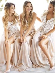A Line V Neck Spaghetti Straps Apricot Split Lace Long Prom Dresses, Formal Evening Dresses