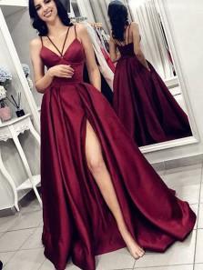 A Line V Neck Spaghetti Straps Burgundy Satin Split Long Prom Dresses with Pockets, Elegant Evening Dresses