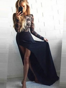 Sheath Scoop Neck Chiffon Navy Lace Long Sleeves Long Prom Dresses, Formal Evening Dresses