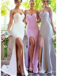 Mermaid Sweetheart Spaghetti Straps Champagne & Pink & Blue Split Long Bridesmaid Dresses