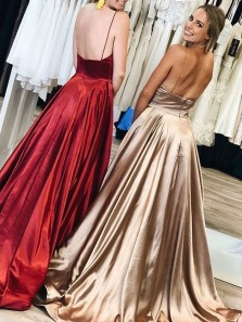 Ball Gown V Neck Spaghetti Straps Burgundy Satin Long Prom Dresses with Pockets, Long Evening Dresses