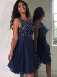 Formal A Line Scoop Navy Chiffon Short Homecoming Dresses with Beading, Short Prom Dresses